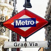 Madrid Metro Sign Poster