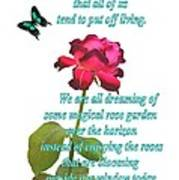 Magenta Red Rose With Butterfly And Quote Poster