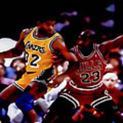 Magic And Jordan At Work Poster