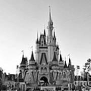 Magic Kingdom Castle In Black And White Poster