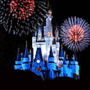 Magic Kingdom Castle In Blue With Fireworks Poster