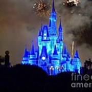 Magic Kingdom Castle In Deep Blue With Fireworks Poster
