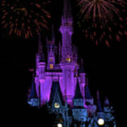 Magic Kingdom Castle In Purple With Fireworks 01 Poster