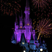 Magic Kingdom Castle In Purple With Fireworks 02 Poster