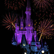 Magic Kingdom Castle In Purple With Fireworks 03 Poster