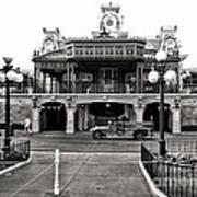 Magic Kingdom Train Station In Black And White Walt Disney World Poster