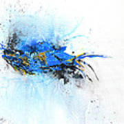 Magical Blue 1- Abstract Art Poster by Ismeta Gruenwald