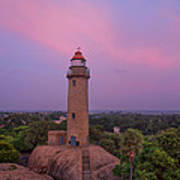 Mahabalipuram Lighthouse India At Sunset Poster