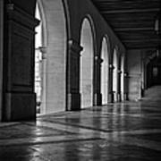 Main Building Arches University Of Texas Bw Poster