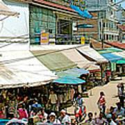 Main Street Marketplace In Tachilek-burma Poster