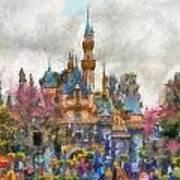 Main Street Sleeping Beauty Castle Disneyland Photo Art 02 Poster