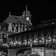 Main Street Station In Black And White Poster