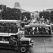 Main Street Transportation Disneyland Bw Poster