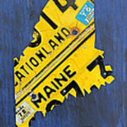 Maine License Plate Map Vintage Vacationland Motto Poster