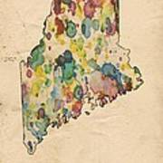 Maine Map Vintage Watercolor Poster