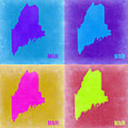 Maine Pop Art Map 2 Poster by Naxart Studio