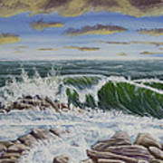 Crashing Waves At Pemaquid Point Maine Poster