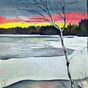 Maine Winter Sunset Poster