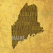 Maine Word Art State Map On Canvas Poster