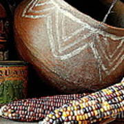 Pottery And Maize Indian Corn Still Life In New Orleans Louisiana Poster