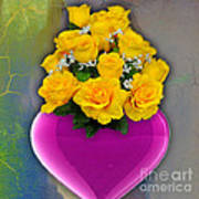 Majenta Heart Vase With Yellow Roses Poster