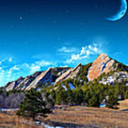 Majestic Flatirons Of Boulder Colorado With Big Moon Poster
