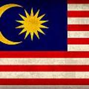 Malaysia Flag Vintage Distressed Finish Poster