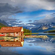 Maligne Boat House Poster