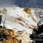 Mammoth Springs Yellowstone Steam Rising Poster
