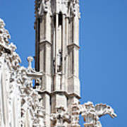 Man And Dragon Gargoyles With Tower Duomo Di Milano Italia Poster