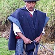 Man At Otavalo Animal Market Ecuador Poster