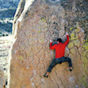 Man Bouldering On An Overhang Poster