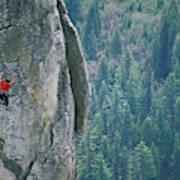 Man Climbing On A Big Granite Spire Poster