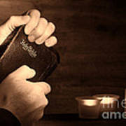 Man Hands And Bible Poster by Olivier Le Queinec
