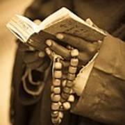 Man Holding Prayer Book Ethiopia Poster