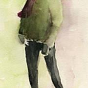 Man In A Green Jacket Fashion Illustration Art Print Poster