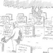 Man In Graveyard Looks At Tombstones Poster