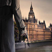 Man In Trenchcoat With A Gun In London Poster