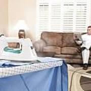 Man Ironing Shirt Poster