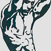 Man Nude Pop Stylised Etching Art Poster  Poster