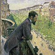 Man On A Balcony Poster by Gustave Caillebotte