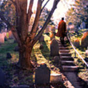Man On Cemetery Steps Poster