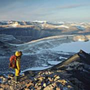 Man Overlooking Olympus Range Antarctica Poster
