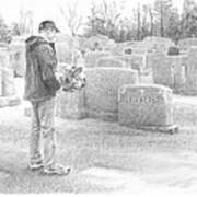 Man Paying Respects Grave Pencil Portrait Poster
