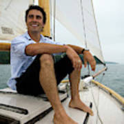 Man Smiling On Sailboat, Casco Bay Poster