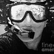 Man Snorkeling With Mask And Snorkel In Clear Water Dry Tortugas Florida Keys Usa Poster