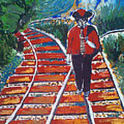 Man Walking On Rails Poster
