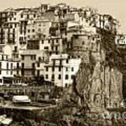 Manarola Italy Sepia Poster