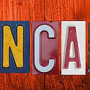 Mancave License Plate Letter Vintage Phrase Artwork On Burnt Orange Wood Poster