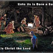 Manger Christmas Card Poster